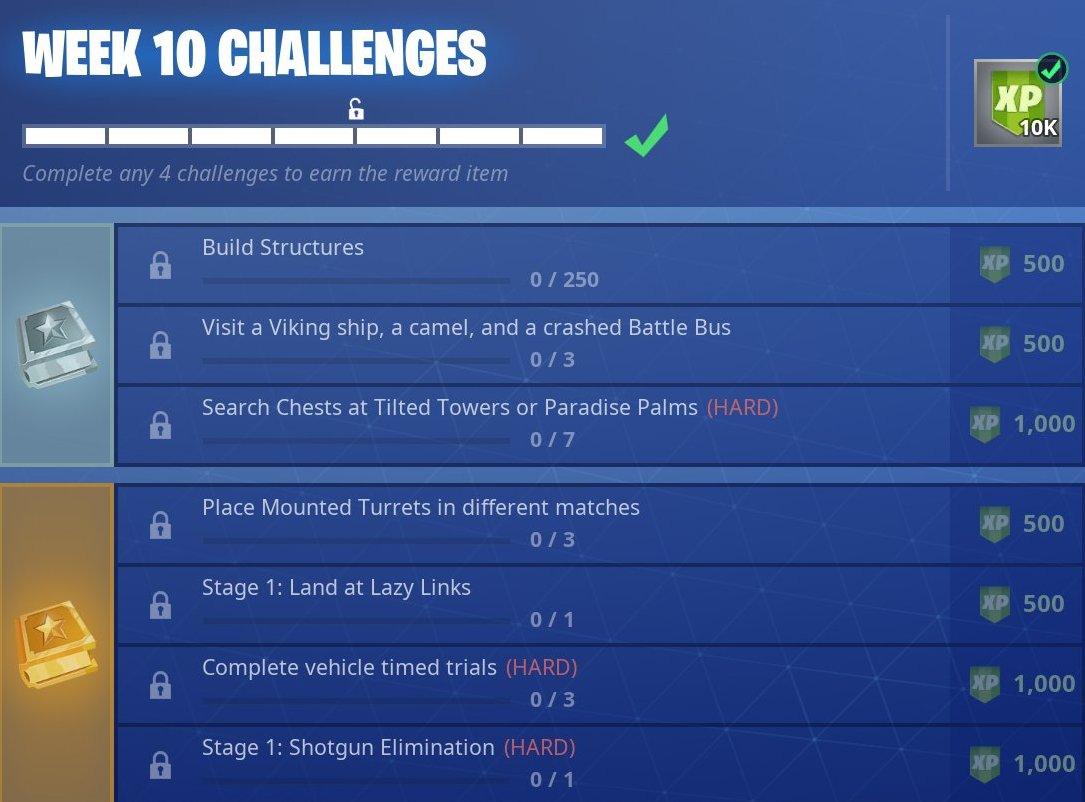 Fortnite Wk 10 Leaked Fortnite Season 6 Week 10 Challenges Fortnite Battle Royale