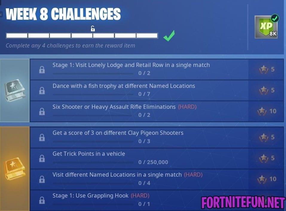 - all week 8 challenges fortnite season 8