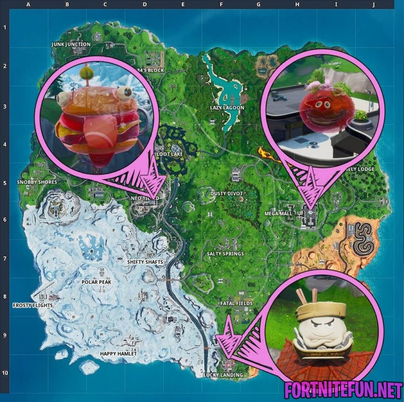 Dance inside a holographic Tomato, Durrr Burger, on top of a giant Dumpling heads