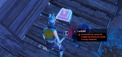 Fortbyte challenges: Accessible by using the cuddle up emoticon inside a rocky umbrella