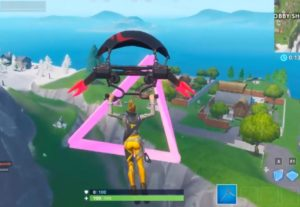 Fortbyte 89 Accessible by flying the Scarlet Strike Glider through the rings east of Snobby Shores Location Guide