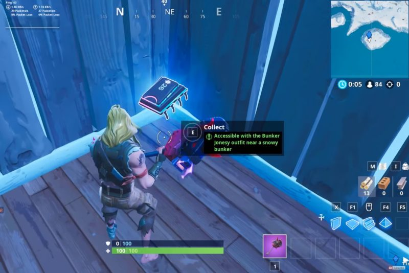 Fortbyte challenges Accessible with the Bunker Jonesy outfit near a snowy bunker