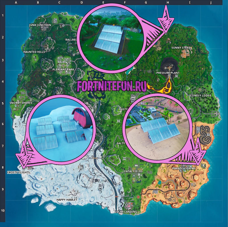 Visit A Solar Array In The Snow, Desert And The Jungle Locations Guide Fortnite
