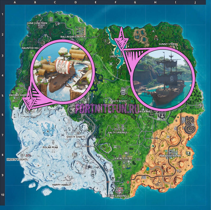 Collect Wood From A Pirate Ship Or Viking Ship - Week 10 Season 9 Fortnite Challenge Location Guide