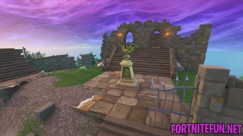 Dance In Front Of A Bat Statue, In A Way Above-ground Pool, And On A Seat For Giants - Fortnite Boogie down