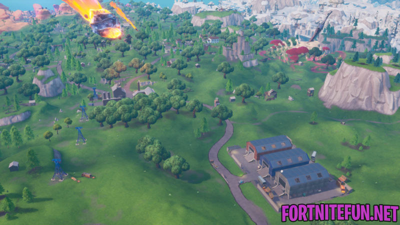 Land in Dusty Depot, then visit the Meteor in a single match