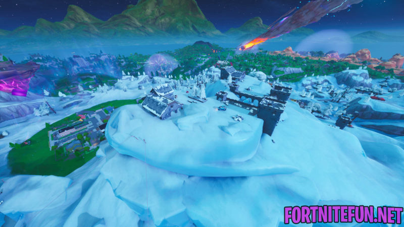 Land On Polar Peak, A Volcano And A Hill Top With A Circle Of Trees - Fortnite Storm Racers